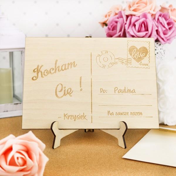 drewniana pocztówka na prezent dla dziewczyny