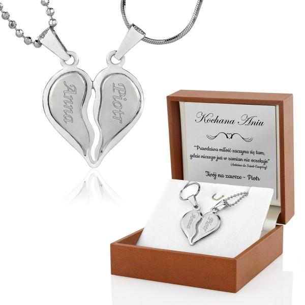 biżuteria dla pary naszyjnik połówki serca