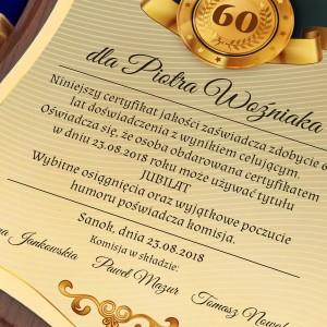 certyfikat z personalizacją na prezent z okazji 60 urodzin