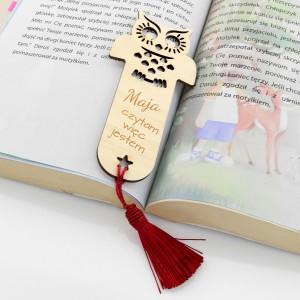 zakładka do książki z grawerem na prezent sówka