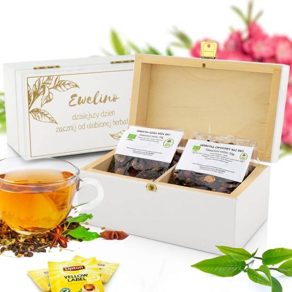 zestaw herbat w skrzynce z personalizacją