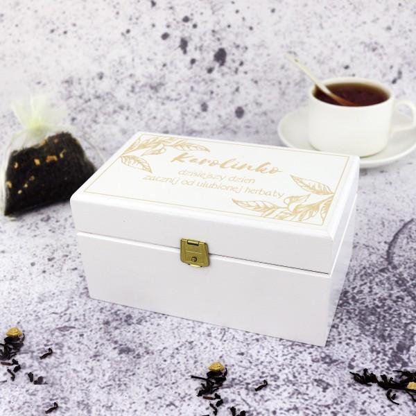 skrzynka na herbatę z grawerem na prezent