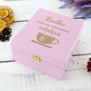 skrzynka na herbatę z personalizacją na prezent urodzinowy