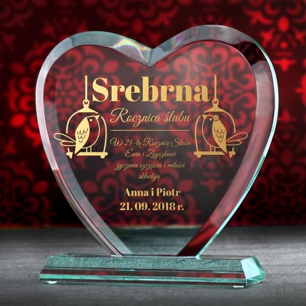 prezent na 25 rocznicę ślubu szklana statuetka z grawerem dedykacji