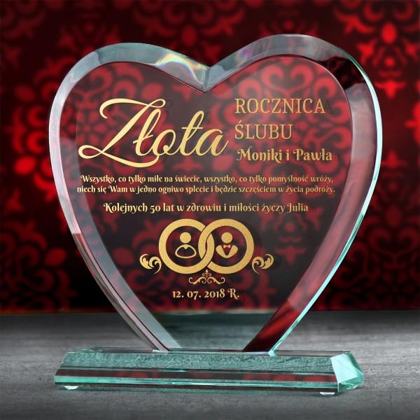 prezent na złotą rocznicę ślubu szklane serce z grawerem dedykacji