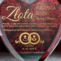 prezent na 50 rocznicę ślubu szklane serce z grawerem dedykacji
