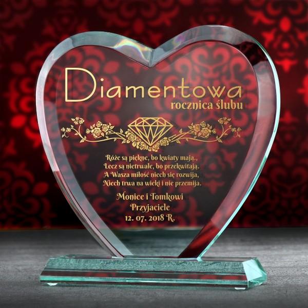 prezent na 60 rocznicę ślubu szklana statuetka z grawerem dedykacji
