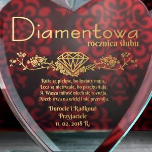 prezent na diamentową rocznicę ślubu szklane statuetki serce
