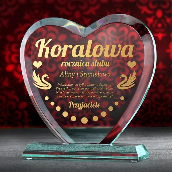 prezent na 35 rocznicę ślubu szklana statuetka z grawerem dedykacji