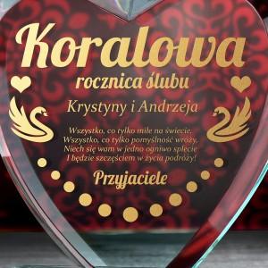 szklane serce z grawerem dedykacji prezent na koralową rocznicę ślubu