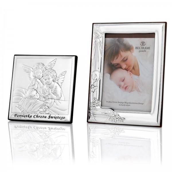 ramka i obrazek na prezent dla chłopczyka z okazji chrztu świętego