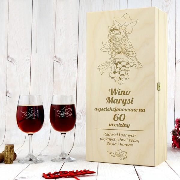 skrzynka na wino z grawerem na prezent na 60 urodziny