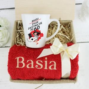 życzenia na 60 urodziny kubek i ręcznik z personalizacją