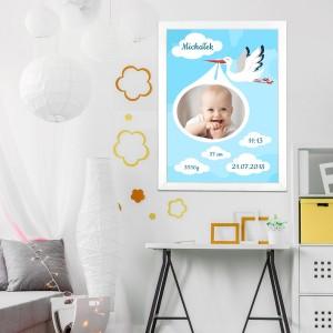 obraz ze zdjęciem na prezent dla chłopczyka na chrzciny