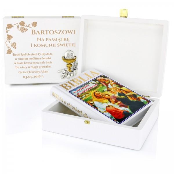 prezent na komunię dla chłopca biblia w szkatułce z grawerem