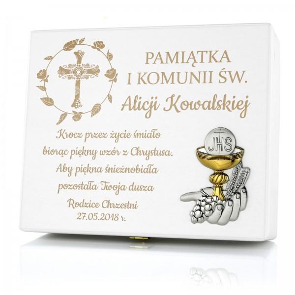 pamiątka pierwszej komunii świętej biblia w szkatułce z grawerem
