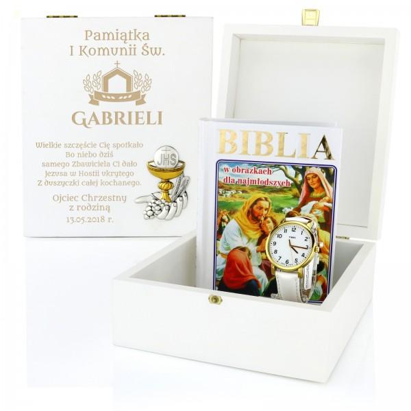 prezent na komunię dla dziewczynki zegarek i biblia w szkatułce z grawerem