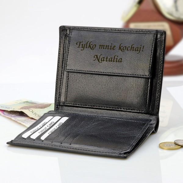skórzany portfel z grawerem