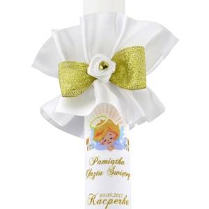 świeca na chrzest z nadrukiem imienia na prezent