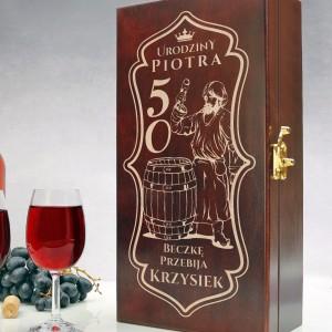 skrzynka na wino z grawerem na prezent na 50 urodziny dla wujka