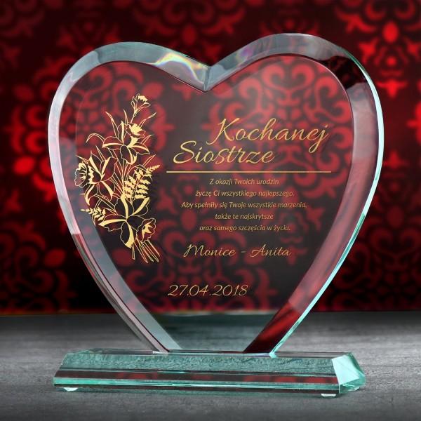 statuetka serce z grawerem prezent dla siostry na urodziny