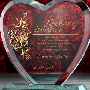 prezent dla siostry na 18 grawerowana statuetka serce
