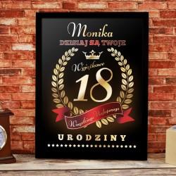 prezent na 18 urodziny dla dziewczyny obraz w ramce z personalizacją