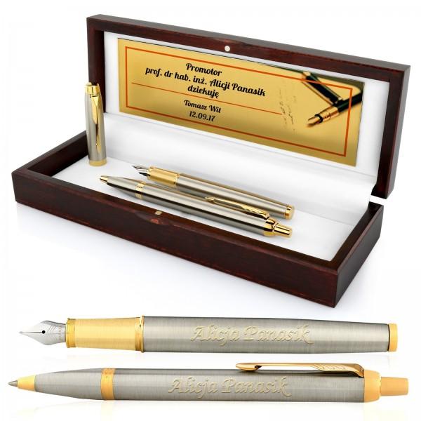 zestaw pióro i długopis z personalizacją na prezent dla profesora