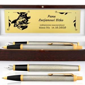 pudełko z dedykacja pióro wieczne i długopis z grawerem na prezent