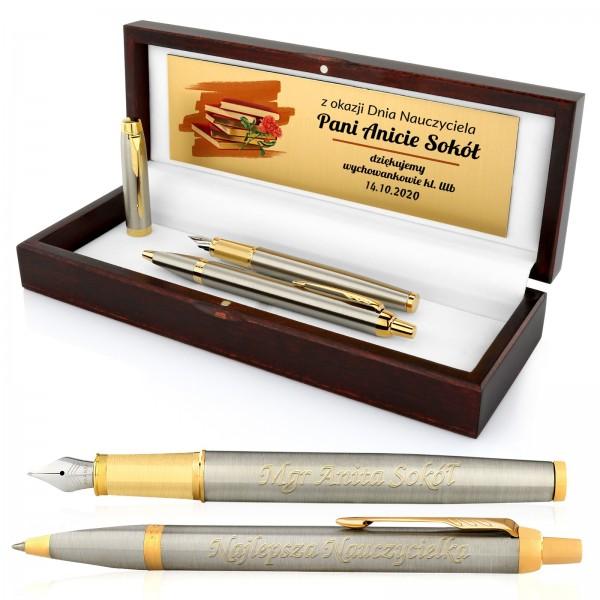 zestaw pióro i długopis parker z personalizacją na prezent na dzień nauczyciela