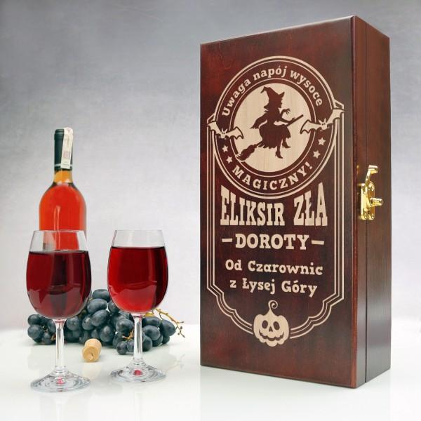 skrzynka na wino z grawerem i kieliszkami na prezent dla przyjaciółki