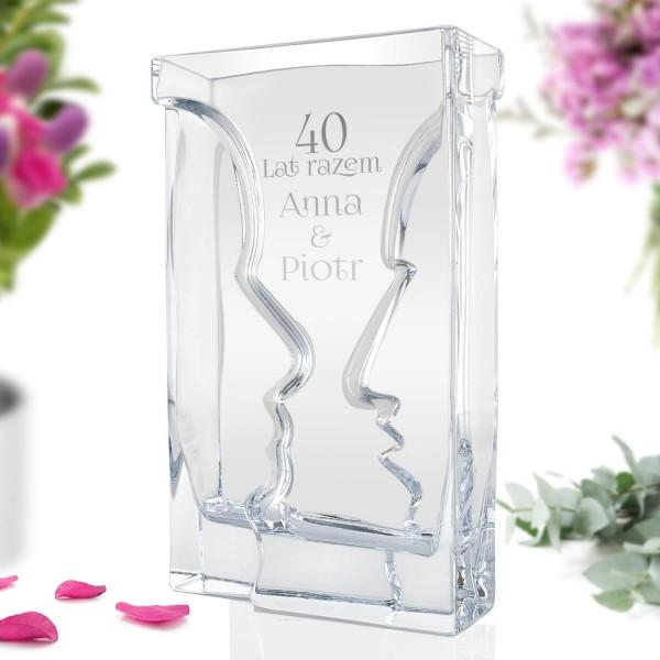 wazon szklany z grawerem na 40 rocznicę ślubu