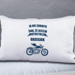poduszka z imieniem i dedykacją na prezent dla motocyklisty