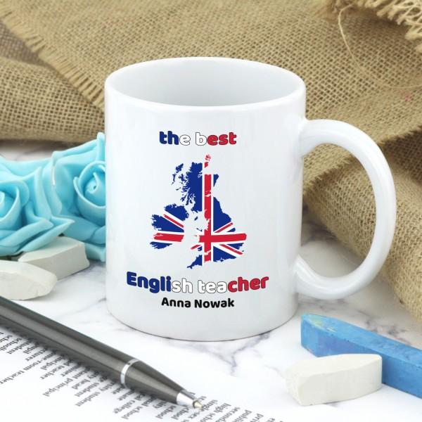 kubek z imieniem na prezent dla nauczyciela angielskiego