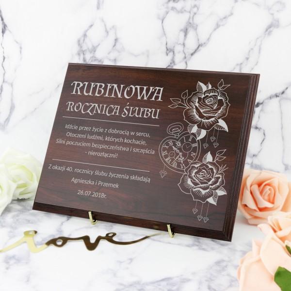 prezent na 40 rocznicę ślubu drewniany certyfikat z grawerem
