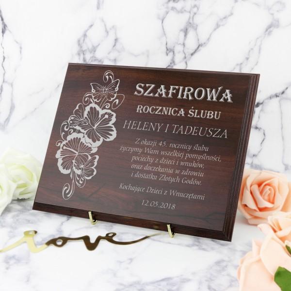 prezent na 45 rocznicę ślubu drewniany certyfikat z personalizacją