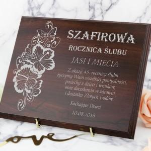 45 rocznica ślubu drewniany certyfikat z grawerem na prezent
