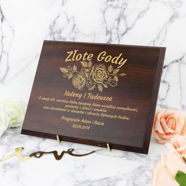 grawerowany certyfikat na prezent na 50 rocznicę ślubu dla znajomych