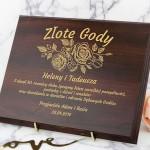 prezent na złote gody drewniany certyfikat z grawerem