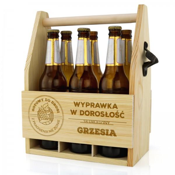 drewniana skrzynka na piwo z grawerem na prezent na 18 dla chłopaka