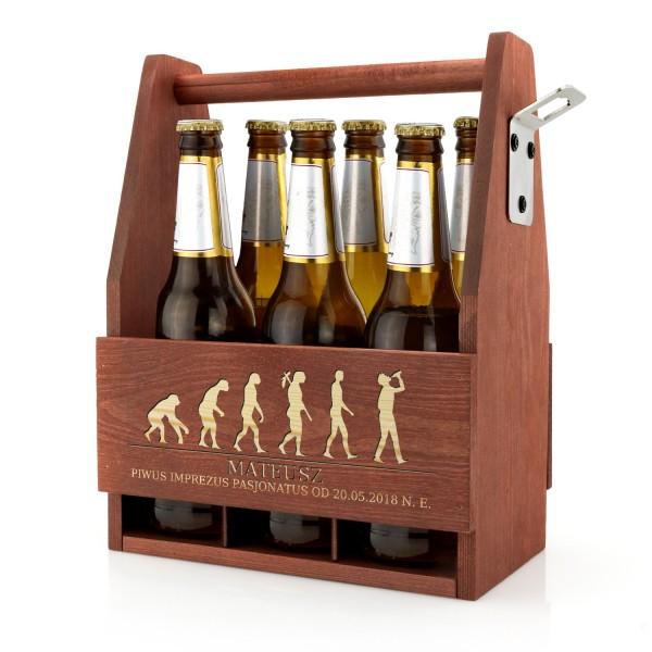 drewniana skrzynka na 18 z grawerem imienia i grafiki ewolucja picia