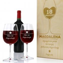 prezent na 18 dla dziewczyny drewniana skrzynka na wino z grawerem