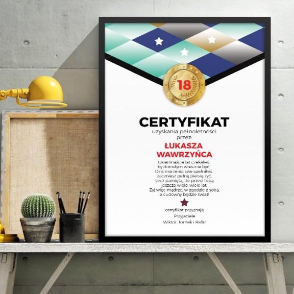 obraz certyfikat z personalizacją na prezent na 18 urodziny dla chłopaka
