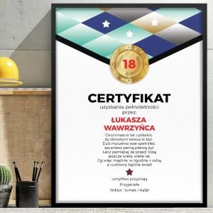 prezent na osiemnastkę obraz certyfikat z personalizacją