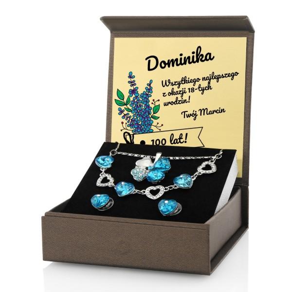 komplet biżuterii z personalizacją na prezent na 18 urodziny