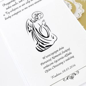kartka na komunię z życzeniami i personalizacją