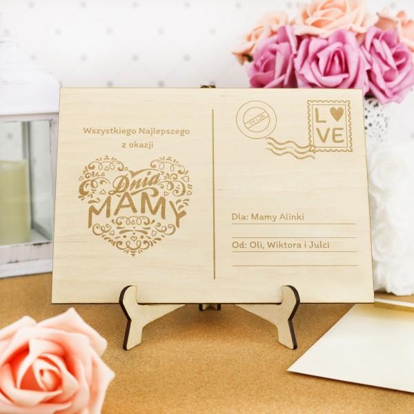 drewniana kartka z grawerem na prezent na dzień matki