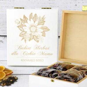 prezent dla mamy zestaw herbat w drewnianym pudełku