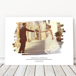 pamiątka ślubna dla pary młodej foto obraz na płótnie