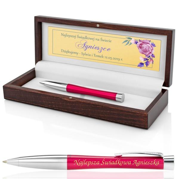 długopis parker z grawerem w pudełku na podziękowanie dla świadkowej